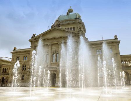 Swiss Parliament Building (Bundesplatz) in Bern, Switzerland. House of Parliament in Bern, Switzerland