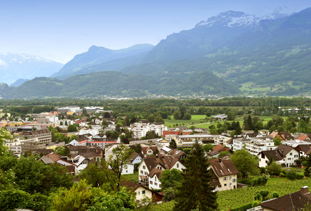 Vaduz, Liechtenstein top view. Vaduz is the capital of Liechtenstein and also the seat of the national parliament. Stock Photo