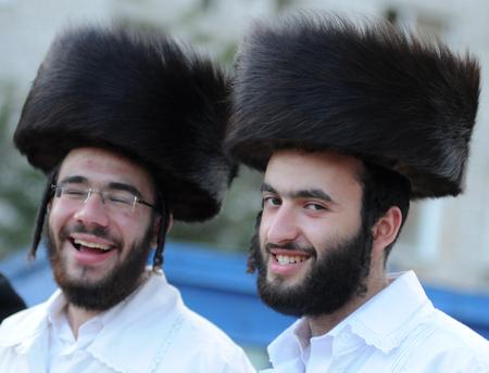 UMAN, UKRAINE - SEPTEMBER 20, 2009: Orthodox Jewish pilgrims in Uman, Ukrain during celebration Rosh Hashanah, the Jewish New Year in Uman, Ukraine.