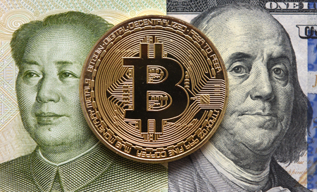Money concept. Chinese Yuan, Bitcoin and one hundred dollars.   Фото со стока
