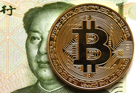 Coins Bitcoin and China money bill yuan with Mao Zedong,  China, Cryptocurrency