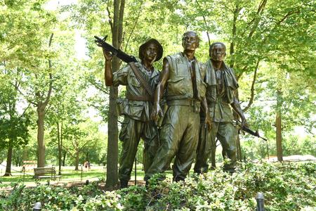 Washington, DC - June 01, 2018: The Three Soldiers at the Vietnam Veterans Memorial, in Washington. Redakční