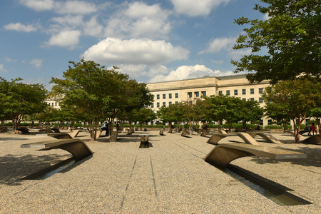 Washington, DC - June 01, 2018: The Pentagon Memorial features 184 empty benches, Pentagon Memorial dedicated to the victims of the September 11, 2001 attack. Editorial