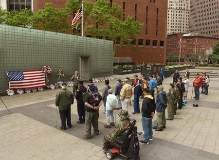 New York, USA - May 28, 2018: Vietnam Veterans during meeting in Memory Day on Vietnam Veterans Plaza, also known as the New York Vietnam Veterans Memorial.