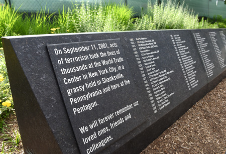 Washington, DC - June 01, 2018: Pentagon Memorial dedicated to the victims of the September 11, 2001 attack. Redactioneel