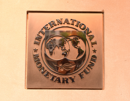 Washington, DC - June 04, 2018: Emblem of International Monetary Fund on the Headquarters 2 Building (HQ2) in DC. Redakční