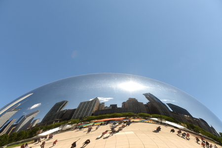 Chicago, USA - June 04, 2018: Reflection in the Cloud Gate also known as the Bean in Millennium Park in Chicago, Illinois. Editorial