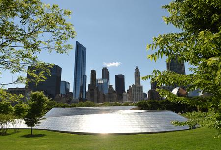 Chicago, USA - June 04, 2018: BP Pedestrian Bridge and Chicago skyscrapers. Editorial