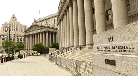 New York, USA - June 10, 2018: Thurgood Marshall Courthouse and New York County Supreme Court buildings.