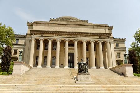 New York, USA - May 25, 2018: Alma Mater statue near the Columbia University library.