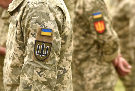 Ukraine patch flag on army uniform. Ukraine military uniform. Ukrainian troops