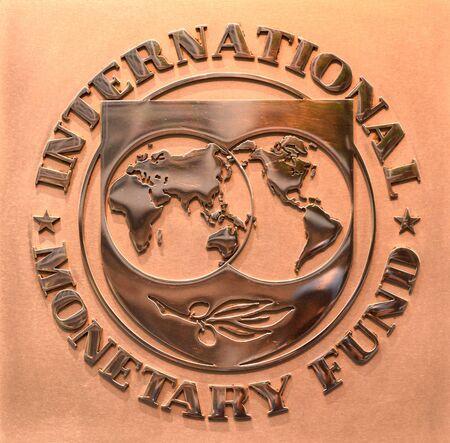 Washington, DC - June 04, 2018: Emblem of International Monetary Fund on the Headquarters 2 Building (HQ2) in DC. Redakční