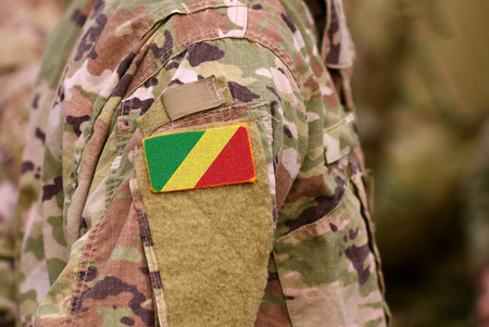 Republic of the Congo flag on soldiers arm. Republic of the Congo troops (collage)