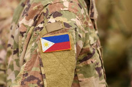 Philippinen-Flagge auf Soldatenarm. Philippinen Truppen (Collage) Standard-Bild