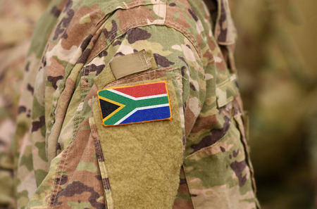 South Africa flag on soldiers arm. South Africa troops (collage)