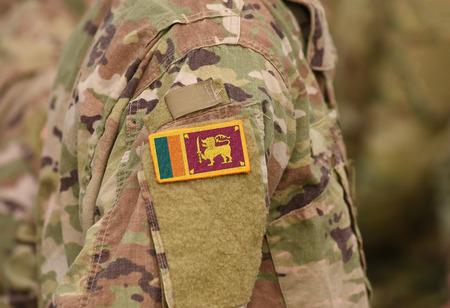 Flag of Sri Lanka on soldiers arm (collage).