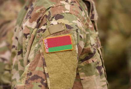 Flag of Belarus on soldiers arm (collage).