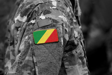 Flag of Congo on soldiers arm. Army, troops, military, Africa (collage). Imagens