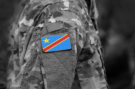 Democratic Republic of the Congo flag on soldiers arm. Army, troops, military, Africa (collage).