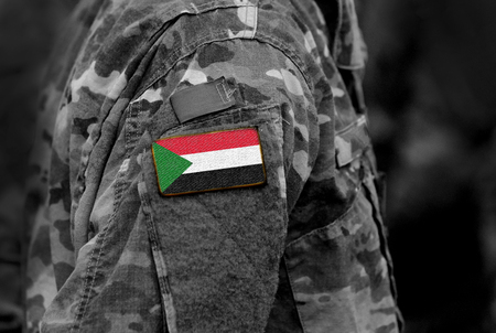 Flag of Sudan on soldiers arm. Sudan flag on military uniform. Army, troops, Africa (collage). Standard-Bild