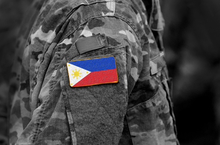 Flag of Philippines on soldier arm. Flag of Philippines on military uniforms (collage).