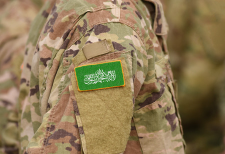 Flag of Hamas on soldier arm. Flag of Hamas  on military uniforms (collage).