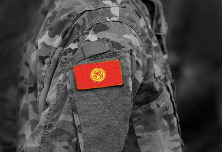 Flag of Kyrgyzstan on soldiers arm. Flag of Kyrgyzstan on military uniforms (collage).