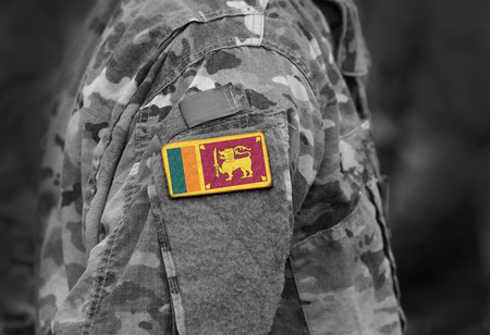 Flag of Sri Lanka on soldiers arm. Flag of Sri Lanka on military uniforms (collage).