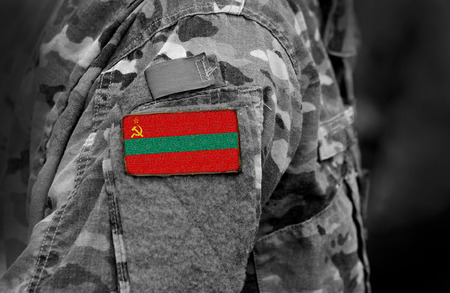 Flag of Transnistria on soldiers arm. Flag of Transnistria on military uniforms (collage).