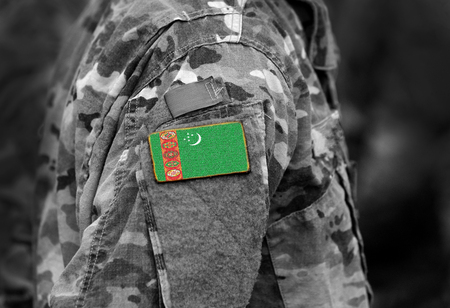 Flag of Turkmenistan on soldiers arm. Flag of Turkmenistan on military uniforms (collage).