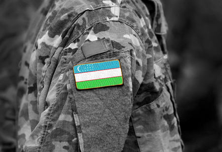 Flag of Uzbekistan on soldiers arm. Flag of Uzbekistan on military uniforms (collage).