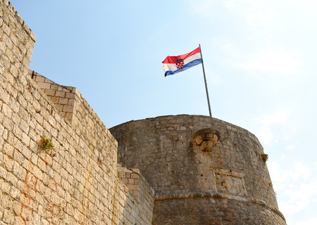 Croatian flag on Spanish Fortress in Hvar town on island of Hvar, Croatia
