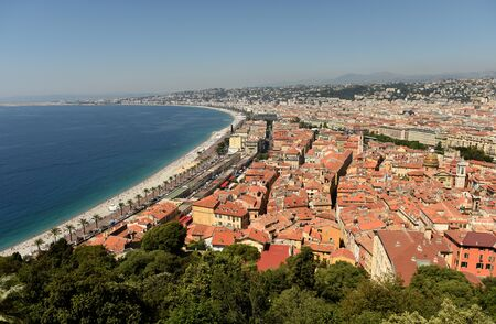 View of the beach and promenade of Nice, France