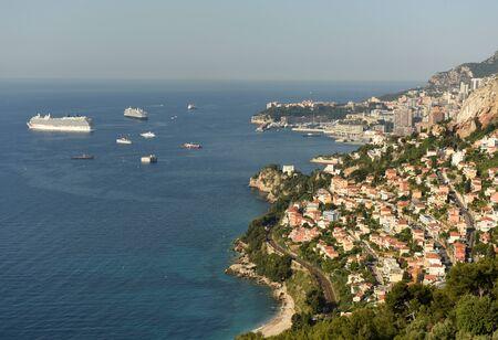 Monaco and Roquebrune-Cap-Martin, Cote dAzur of French Riviera. 版權商用圖片