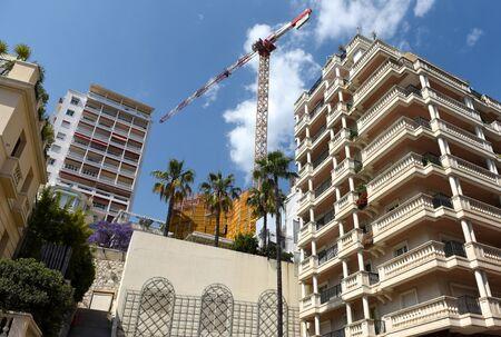 Building construction in Monaco. Construction crane