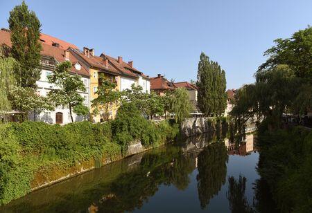 Ljubljanica river and buildings in the center Ljubljana, Slovenia