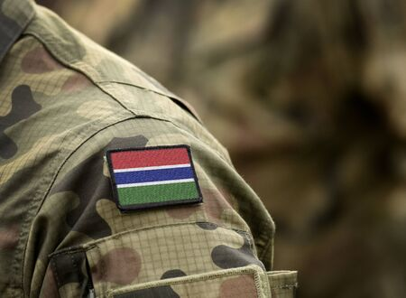 Flag of The Gambia on military uniform. Army, troops, soldiers, Africa, (collage). Standard-Bild