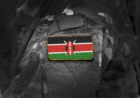 Flag of Kenya on military uniform. Army, troops, soldiers, Africa, (collage).