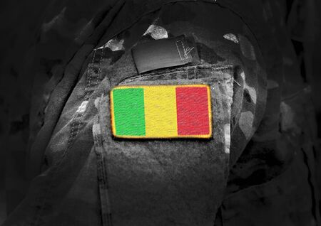 Flag of Mali on military uniform. Army, troops, soldiers. Collage.