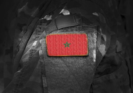 Flag of Morocco on military uniform. Army, troops, soldiers. Collage.