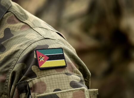Flag of Mozambique  on military uniform. Army, troops, soldiers. Collage.