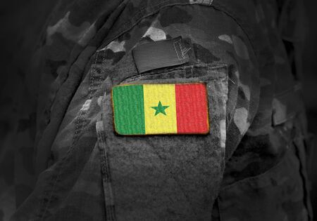 Flag of Senegal on military uniform. Army, troops, soldiers. Collage.