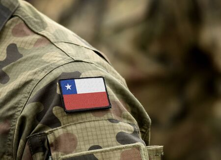 Flag of Chile on military uniform. Army, troops, soldier (collage).