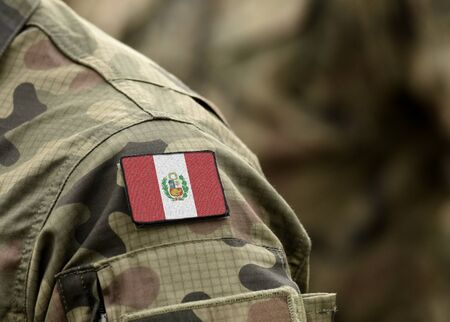 Flag of Peru on military uniforms. Flag of Peru on soldiers arm (collage).