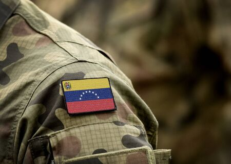 Flag of Venezuela on military uniform (collage). Standard-Bild