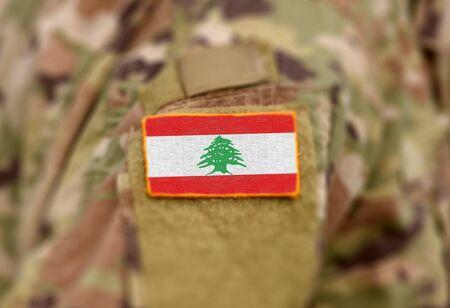 Flag of Lebanon on military uniform (collage).