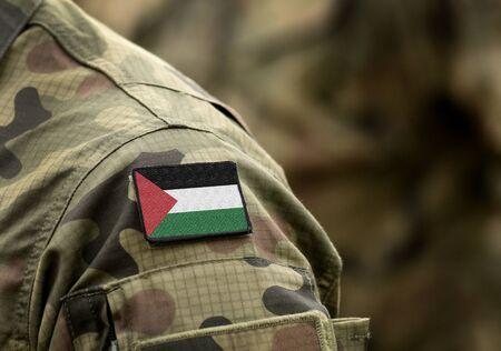 Flag of Palestine on military uniform (collage).
