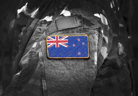 Flag of New Zealand on military uniform. Army, troops, soldiers. Collage. Stock fotó