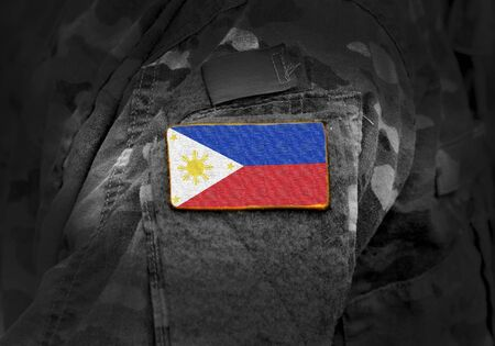 Flag of Philippines on military uniform. Army, troops, soldiers. Collage.
