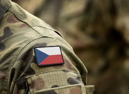 Flag of Czech Republic on military uniform. Army, troops, soldiers. Collage. Stock fotó